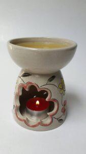 burner tungku aromaterapi motif bunga
