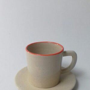 Cangkir Keramik Bergagang Lucu Orange Line Cup