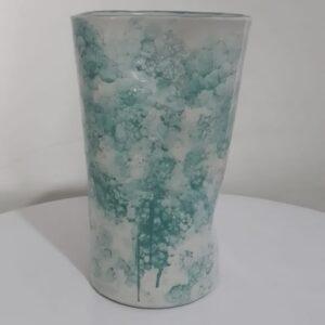 Vas buble glaze tinggi 24, 5 cm corak hijau